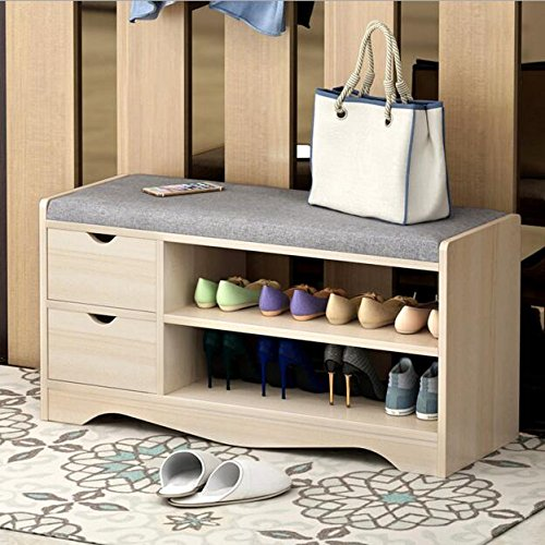Best to Buy SHOE RACK - Elegant Premium Wooden Shoes Organizer, Storage, Cabinet, Holder Bench with 2 drawers and removeable Soft Seat Cushion for Entryway, Hallway. Solid Nordic Wood (Brown) by Best to Buy®