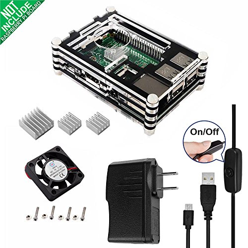Smraza 5 in 1 Starter Kit for Raspberry Pi 3 2 B with 9 layers Casec 5V/2.5A Power Supply c1 pcs Fanc 3 pcs Heatsinks and Micro USB with On/Off Switch SW13