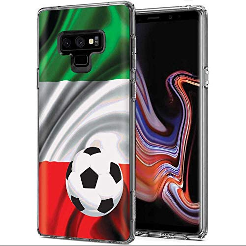 [Mobiflare] Samsung Galaxy Note 9 [Clear] Ultraflex Thin Gel Phone Cover [Italy Flag Soccer Ball Print]