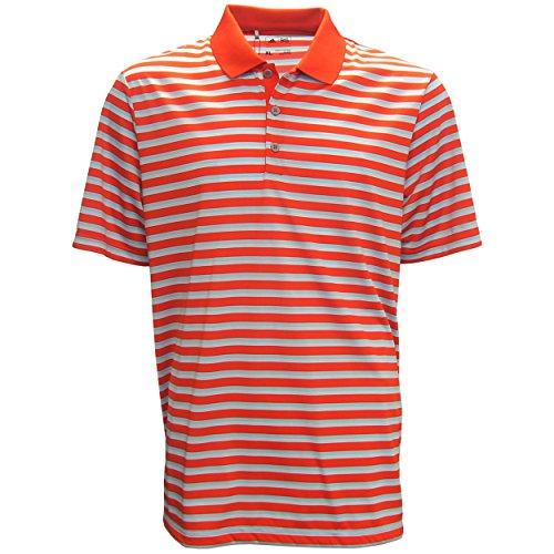 adidas Golf Men's Club Merch Stripe Polo, Core Red/Ice Blue/White, X-Large
