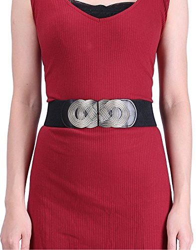 HDE Women's Elastic Cinch Belt with Infinity Style Buckle and Stretch Waist Band (Black, (Sandy Outfit From Grease)