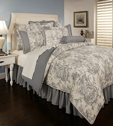 Toile Neckroll - Sherry Kline Country Toile Blue 6-Piece Comforter Set, Queen