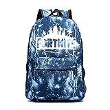 Luminous Fortnite Backpack Luminous School Bag Galaxy Laptop Book Hiking Bag (Lightning blue)