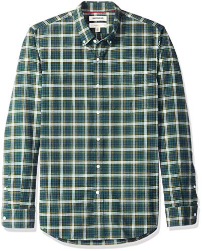 Button Plaid Green Down Shirt (Goodthreads Men's Slim-Fit Long-Sleeve Small Tartan Oxford Shirt, Green Navy, Large)
