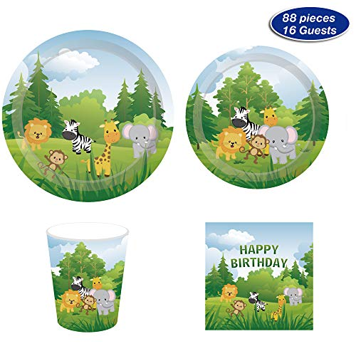 Safari Jungle Animals Party Supplies - Serves 16 - Includes Plates, Cups and Napkins Perfect for Theme Party,1st Birthday,Baby Shower,Picnic,Thanksgiving,Christmas,Home Parties and Festivals(88)]()