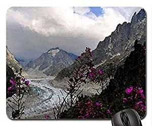 Flowers on the mountains Mouse Pad, Mousepad (Mountains Mouse Pad, Watercolor style)