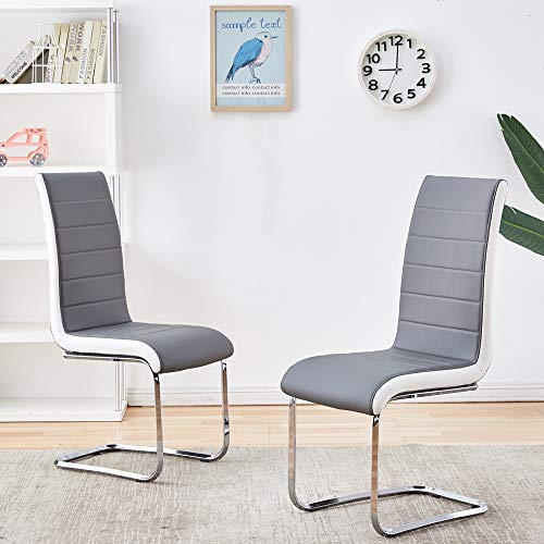 Enjowarm Dining Chairs Set of 2 Grey White Sides Faux Leather Mid Century Living Room Side Chairs Metal Chrome Legs High Back Dining Room Set for Home Kitchen Office Waiting Room