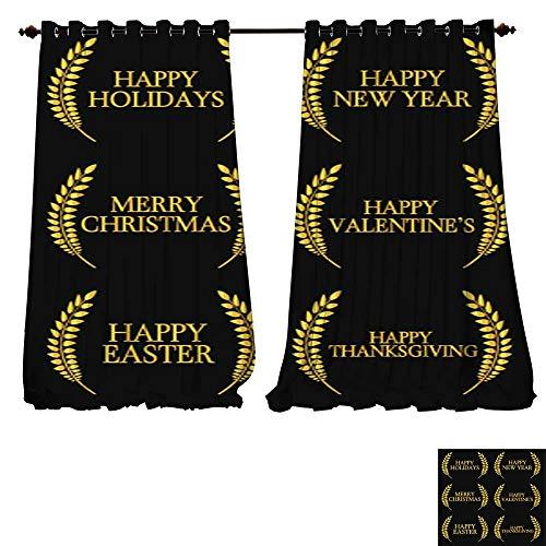 DESPKON-HOME Waterproof Window Curtain Laurel Holidays 2 Shades Window Treatment Valances Curtains -W84 x ()
