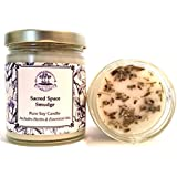 Sacred Space Soy Herbal Smudge Candle 6 oz with Lavender, Sage & Cedar for Purification, Negative Energy & Serenity