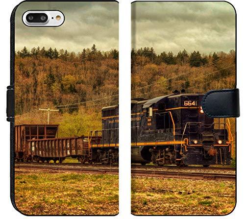 Apple iPhone 8 Plus Flip Fabric Wallet Case Image of Train Transport Locomotive Engine Railroad Old Travel Smoke Transportation Railway Track Steam Metal rai