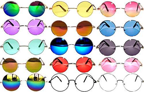 Retro Round Circle Colored Vintage Tint Sunglasses Metal Frame Spring hinge OWL (Mix_15_Pa_43_56_60_mm, PC Lens)