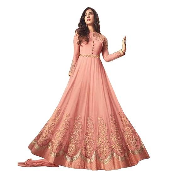 40d109786e45 Royal Export Women s pink heavy net Long Party Wear Salwar Suit set (Medium)