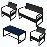 Uenjoy 4PC Outdoor Rattan Wicker Patio Furniture Set Cushioned Sofa & Table Garden Lawn BLACK