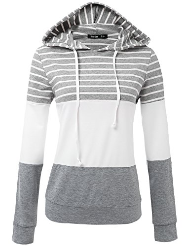 JayJay Women Casual Athleisure Long Sleeve Striped Contrast Color Pullover Hoodie Sweater (Cincinnati Reds Striped Shirt)