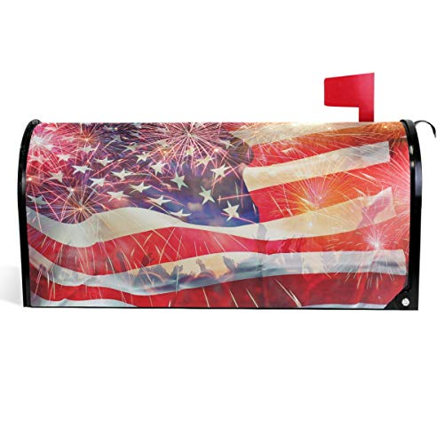 (Wamika USA American Flag Mailbox Cover Patriotic 4th of July Mailbox Covers Magnetic Fireworks Independence Day Mailbox Wraps Post Letter Box Cover Home Garden Decor Standard Size 18