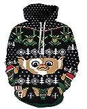 Couple 3D Santa Print Ugly Christmas Kangaroo Pocket Sweatshirt Hoodies Pullover Elf 2X/3X