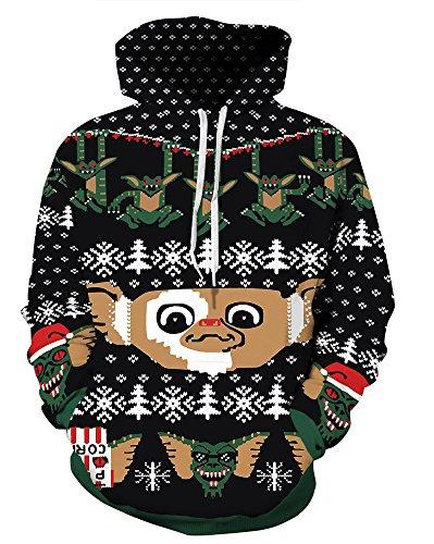 - Couple 3D Santa Print Ugly Christmas Kangaroo Pocket Sweatshirt Hoodies Pullover Elf 2X/3X