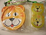 Animal Friends Lion 2 Piece Plastic Dining Set ~ Snack Containers with Spoons, Travel Bowl with Lid