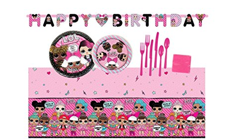 Price comparison product image L.O.L. Surprise Doll Birthday Party Supplies Bundle Set for 16 Guests - Plates, Tablecover, Banner, Cutlery, Napkins
