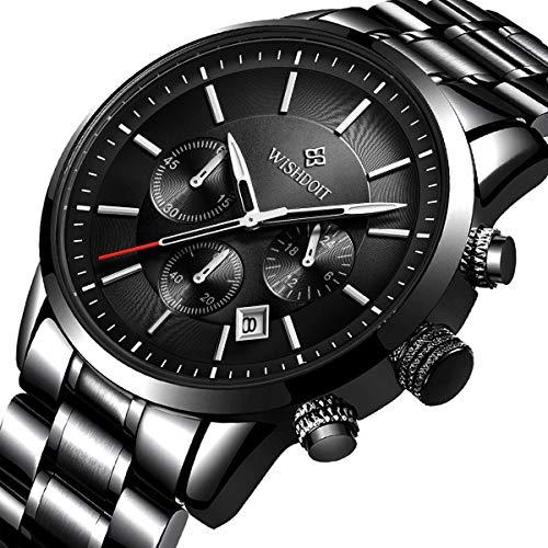 Mens Watches Fashion Steel Waterproof Analog Quartz Watch Men Top Brand Business Dress Wristwatch Sport Military Chronograph Casual Date Black Clock