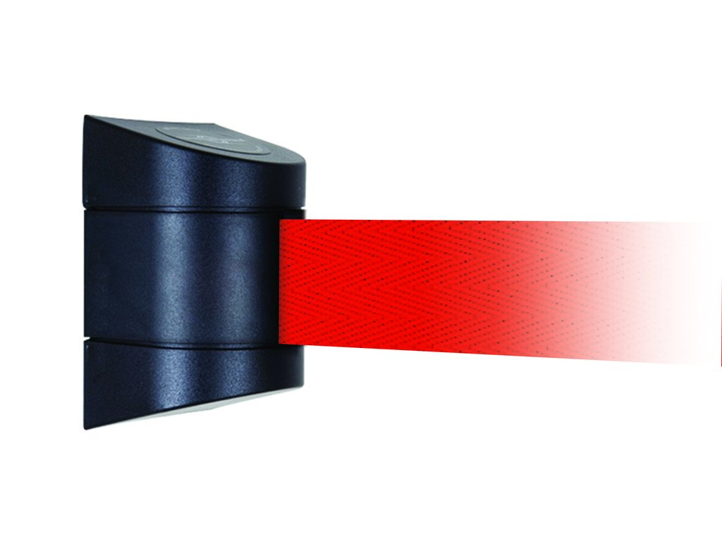 Black Caps 24 24/' Tensator Tensabarrier 897-24-R-33-NO-R5X-C Removable Wall Mount No Custom Red Webbing Standard Belt End