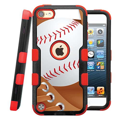 iPod touch 5th / 6th Case, CASECREATOR[TM] For Apple iPod touch 5th / 6th generation () -- NATURAL TUFF Hybrid Rubber Hard Snap-on Case Red Black-Baseball and Glove