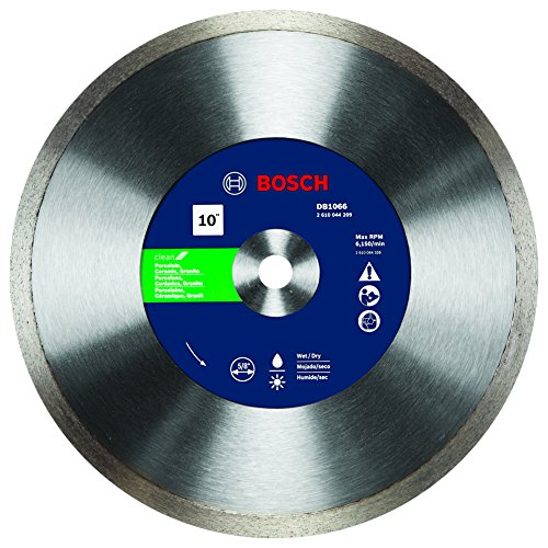 Bosch DB1066 Premium Plus 10-Inch Wet Cutting Continuous Rim Diamond Saw Blade with 5/8-Inch Arbor for Tile (Saw Plus Wet Tile)