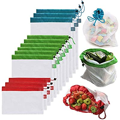BB Brotrade Reusable Mesh Produce Bags Premium Washable Eco Friendly Bags with Tare Weight on Tags for Grocery Shopping Storage, Fruit, Vegetable, and Toys