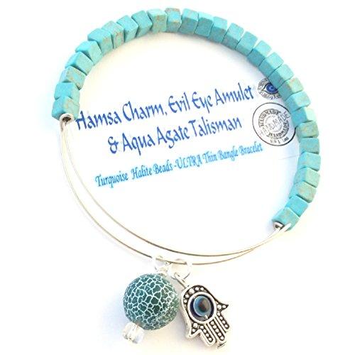 Beaded Bangle,HAMSA EVIL Eye & Fire Agate Gemstone charm,kabballah, amulet,talisman mystic bracelet (Talisman Agate)