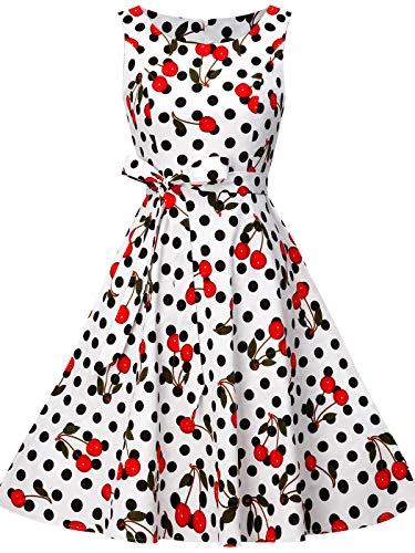 FAIRY COUPLE Women's 1950's Bowknot Vintage Retro Polka Dot Rockabilly Party Swing Dress S Cherry 2 ()