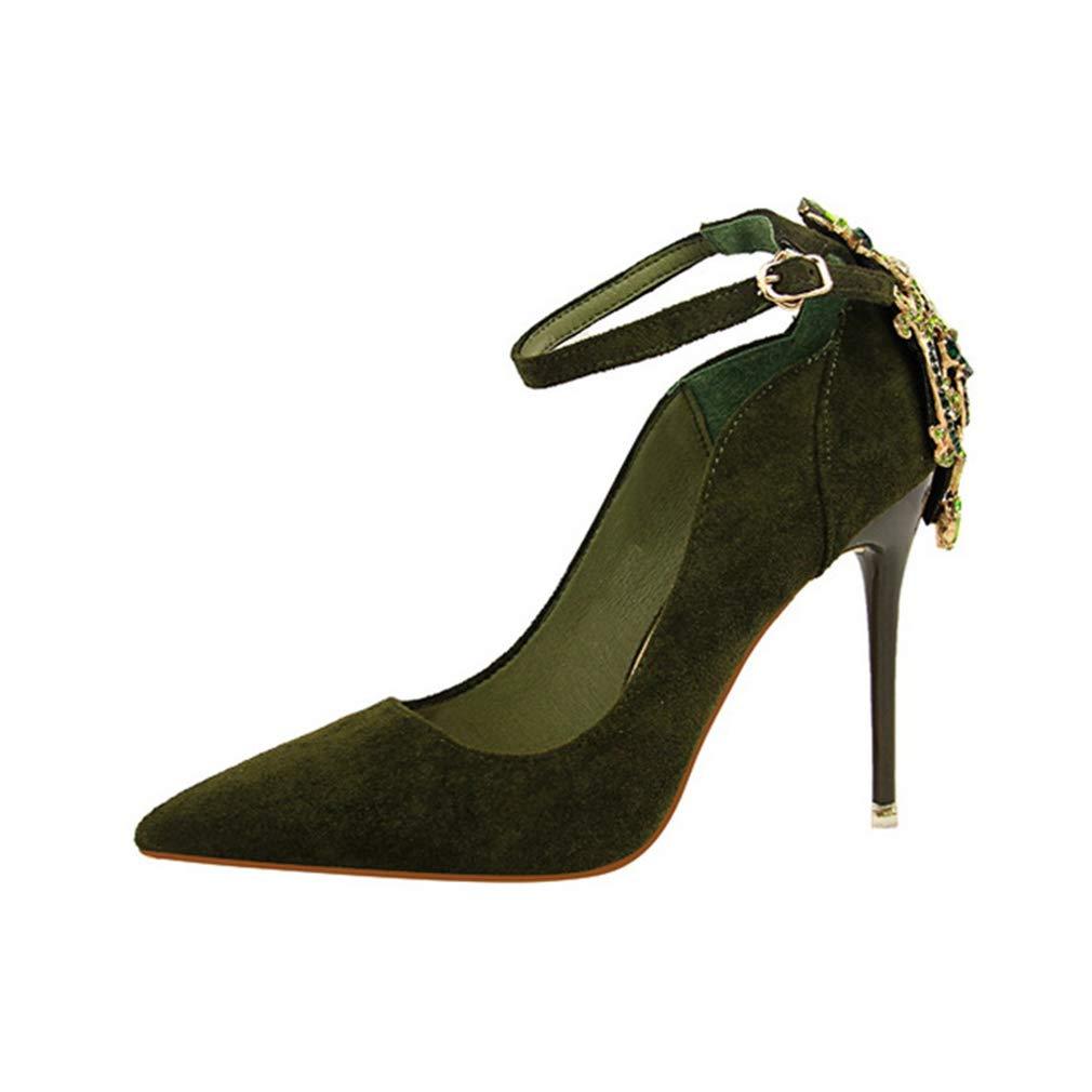 YAN Frauen Stiletto Wildleder Frühling Herbst Knöchelriemen Schuhe Sexy Damen Schuhe Wildleder Flach Mund Strass Schuhe Party & Evening (Farbe : C, Größe : 39)