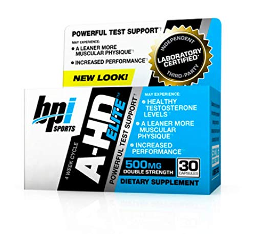 BPI Sports A-HD Elite - Men's Powerful Testosterone Booster - Natural Stamina, Strength, Sexual Support - Increases Metabolism - Fat Burning - Strength - Muscle - 30 Servings - 500mg