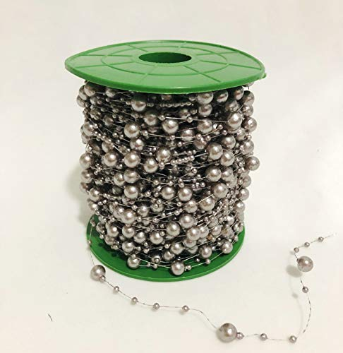 (200 Feet Pearl Bead Roll Faux Pearls Beads String by The Roll Faux Crystal Beads Garland ABS Cuttable for Christmas Tree, Valentine, Exhibition, Wedding, Clothing, Costume, DIY Decoration)
