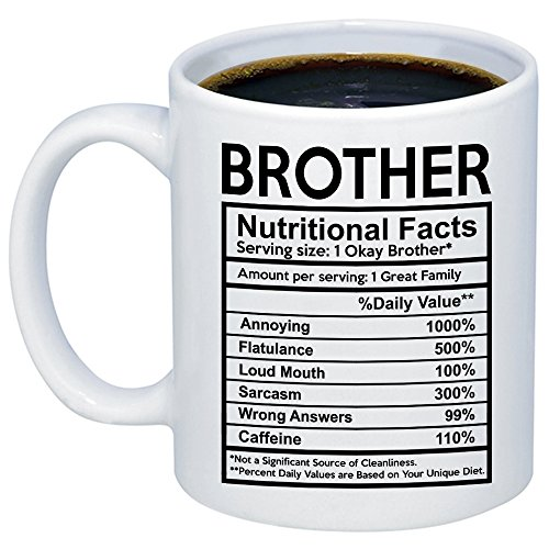 MyCozyCups Funny Gift for Brother - Brother Nutritional Facts Label Coffee Mug - Unique 11oz Gift Idea for Birthday, Father's Day, Christmas, Graduation - Big, Older, Younger, Little Brother Cup