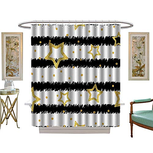 YOYI Shower Curtains with Shower Hooks Golden Stars and Dots with Glitter Effect StripedParty Celebrati Theme Satin Fabric Sets Bathroom