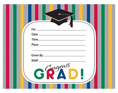 [Creative Converting 8 Count Graduation Stripes Invitation Cards] (Childrens Costume Party Invitations)
