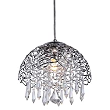 "Whse of Tiffany 0901-1 Hailey 1-Light Chrome 12"" Crystal Chandelier"
