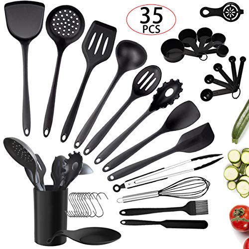 Silicone Cooking Utensil Set, 35Pcs Kitchen Utensils Set with Holder, Non-stick Heat Resistant Cooking Tools Silicone Handle Spoons Spatula Turner Whisk Tongs, Kitchen Gadgets Utensil Set (Black)