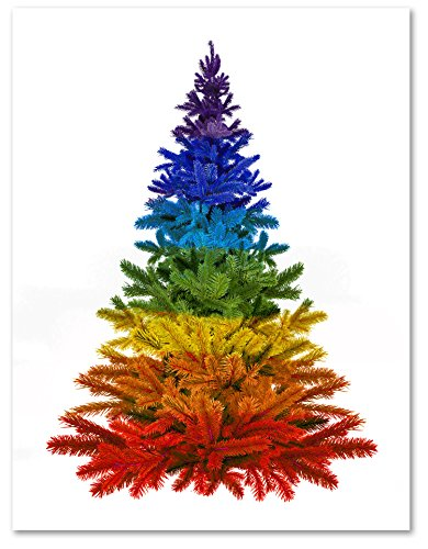 Rainbow Christmas Tree - Merry Christmas Holiday Greeting Cards - Pride - Blank on the Inside - Includes Card and Envelopes - 5.5