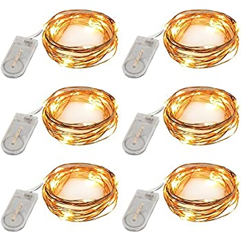 Accmor Led Fairy String Lights, Firefly Outdoor Lights, Seasonal Indoor Lights, Halloween Decoration Waterproof Cooper Lights, Battery Operated Portable Lights (UL Certified, 7.87 ft, Set of 6)