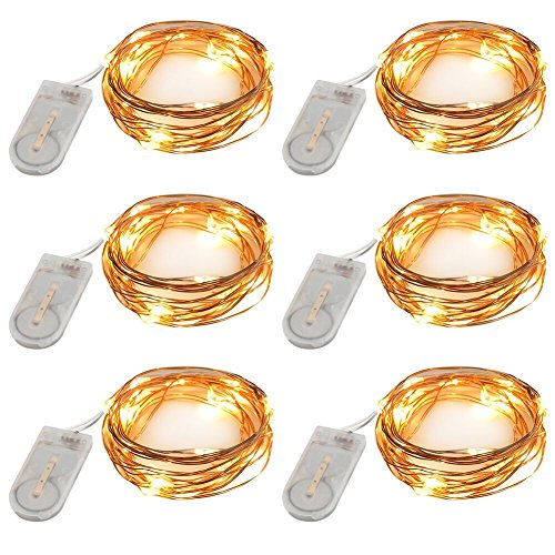 Accmor Led Fairy String Lights, Firefly Outdoor Lights, Seasonal Indoor Lights, Halloween Decoration Waterproof Cooper Lights, Battery Operated Portable Lights (UL Certified, 7.87 ft, Set of (Mini Solar Lights)