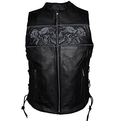 Dream Ladies Motorcycle Riders Reflective Skull Leather Vest W/2 Gun Pockets Side Lace