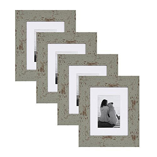 DesignOvation Nor Rustic Wall Hanging or Table Standing Decorative Picture Frame Set with Off-White Mats, Distressed Teal, 8x10 matted to 5x7, Pack of 4
