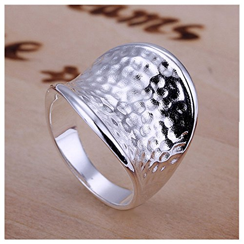 s Womens 925 Sterling Silver Plated Fashion Wide Concave Hammered Surface Ring Band (Hammered Surface)