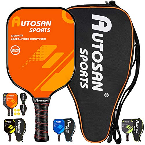 Autosan Pickleball Paddle Graphite Pickleball Racket Set with Free Carry Bag & EBook | Pickleball Racquet Lightweight and WideBody | USAPA Approved | Carbon Fiber Pickleball Paddle | PP Honeycomb Core