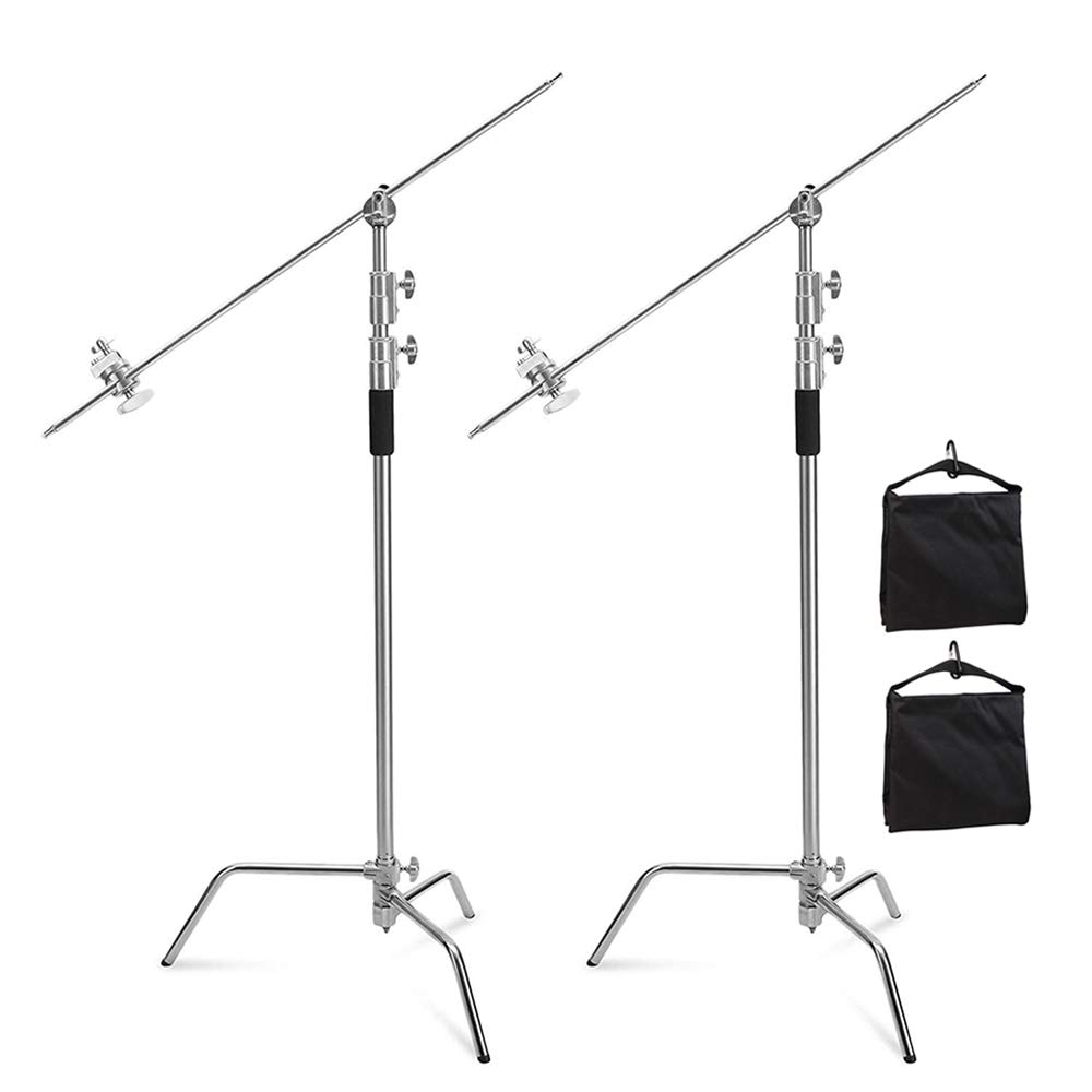 Selens C Stand Photography Adjustable 10 Feet / 3 Meters with 4 Feet Boom arm and Grip Head Heavy Duty Stainless Steel Stands Kit for Photo Studio Video Reflector, Softbox, Umbrella Lighting (2 Pack) by Selens