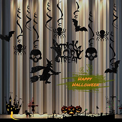 Funcora Halloween Swirl Decoration, Haunted Ceiling Hanging Decorations : Black Bats, Spiders, Skeleton, Witch Ghosts, Trick or Treat Decor for Halloween Party (Black)