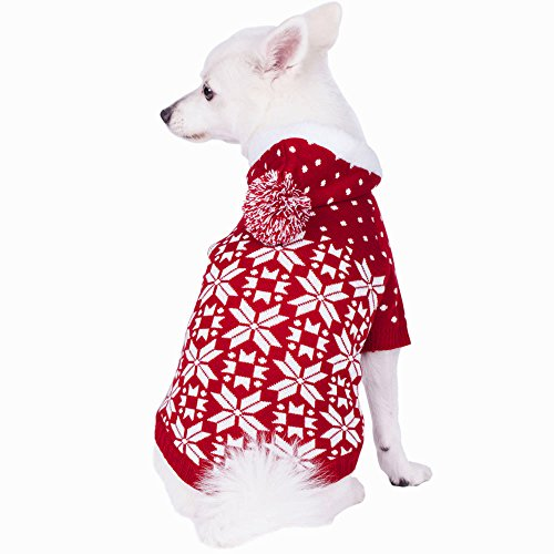 Blueberry Pet 6 Patterns Let It Snow Classic Ugly Christmas Holiday Snowflake Pullover Hoodie Dog Sweater in Red and White for Puppy, Back Length 8