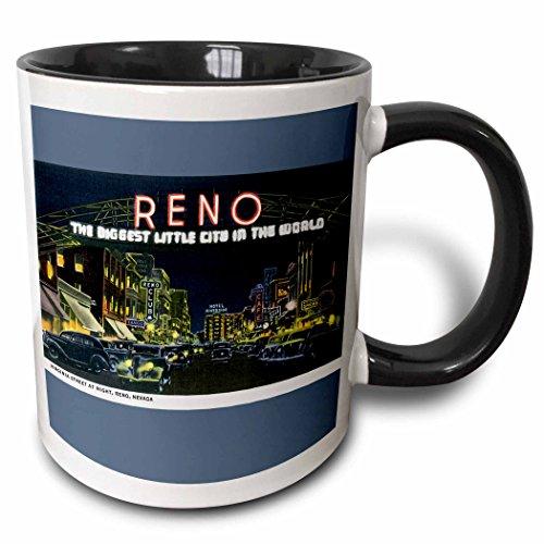 3dRose BLN Vintage US Cities and States Postcards - Reno The Biggest Little City in the World Night Scene Reno, Nevada - 15oz Two-Tone Black Mug (mug_170284_9) (Reno The Biggest Little City In The World)