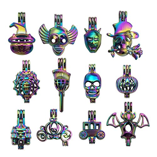 10pcs Mixed Shape Halloween Rainbow Pearl Cage Bead Cages Pendants for Jewelry Making/Aromatherapy Essential Oil Scent Diffuser Locket Pendant m226 (Mixed No Duplicate)